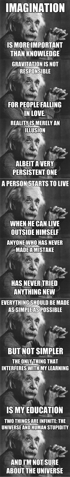 Einstein is a bad-ass quote machine.Had to post this for my son, Blaine, and the conversation we just had about stupidity! Great Quotes, Quotes To Live By, Inspirational Quotes, Awesome Quotes, Motivational Quotes, E Mc2, Albert Einstein Quotes, Wedding Quotes, Lectures