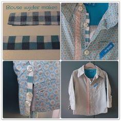Overhemd of blouse te smal? Breder maken is heel makkelijk! Tutorial wijder groter bloesje diy