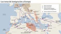 Este pictura mira las rutas que inmigrantes toma en Europa