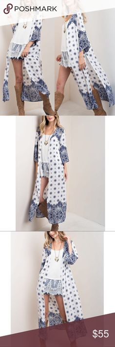 🆕Print Duster Cardigan - WHITE mix Print duster cardigan with side slits. Also available in navy mix. Bellanblue Tops