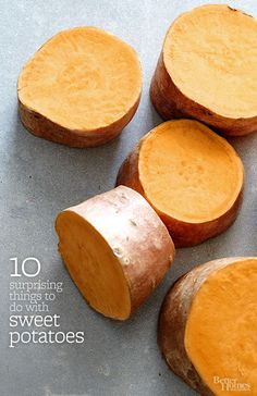 Sweet potatoes are the stud of spuds. Nab our best ways to bake 'em, fry 'em, even sip 'em in this tasty tater collection! http://www.bhg.com/recipes/potato/10-suprising-things-to-do-with-sweet-potatoes/?socsrc=bhgpin120714sweetpotatoesswitchup