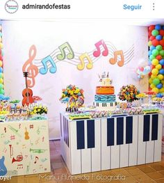 34 ideas birthday girl second kids Music Theme Birthday, Rockstar Birthday, Dance Party Birthday, Music Themed Parties, Baby Boy 1st Birthday, First Birthday Parties, Birthday Party Themes, Music Party Decorations, Table Decorations