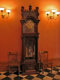 A grandfather clock in the Old State Capitol, Baton Rouge. What a setting!