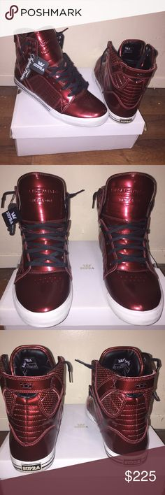 Supra Skytop 2009 Burgundy Patent Collection Burgundy. Good condition. Barely worn. Still has that brand new sneaker smell. Comes with laces and tote bag. Size 13 Men Supra Shoes Sneakers