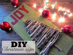 DIY Christmas Decoration - wood stick tree