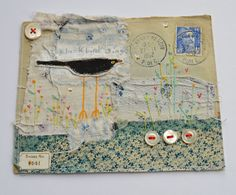 ARTWORK ORIGINAL envelope mixed media ooak ... Blackbird sing ... French 1952 envelope Hello and welcome to my Etsy listing. I have free machine
