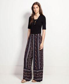 Pantalón largo greca hoja vertical - Pantalones y Shorts.