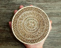 Large Mandala Stamp, Flower Stamp, Indian Printing Block, Hand Carved Wood Stamp, Round Wooden Circle Stamp Clay Textiles Pottery, India
