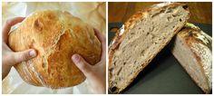 Fantastický chlebík, skoro úplne bez práce. Len zamiešať, dať do rúry a máte fantastický chlebík k obedu, alebo na večeru. Klasika našich prababičiek, ktoré nikdy nemali času na zvyš. My sme ho s manželom žartom nazvali chlebík pre lenivých :-) a u nás sa to veľmi ujalo. :-) Potrebujeme: 1 kg hladkej múky T 650... Bread, Funguje To, Food, Hampers, Brot, Essen, Baking, Meals, Breads