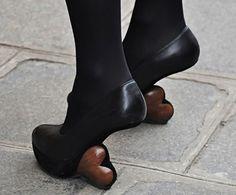 Wooden heart heels. Designed by Victoria Koblenko in conjunction with René van den Berg. http://www.virtualshoemuseum.com/victoria-koblenko
