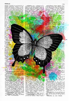 Beautiful Butterfly 01 Wall art home decor printed on Vintage Book Page the best choice for gifts Wall art home decor. Watercolor collection Butterfly by PRRINT Newspaper Painting, Newspaper Art, Newspaper Dress, Butterfly Drawing, Butterfly Wallpaper, Kunstjournal Inspiration, Book Page Art, Colorful Wall Art, Cool Art Drawings