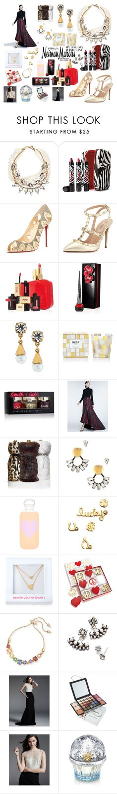 """The Holiday Wish List With Neiman Marcus: Contest Entry"" by loganslooks ❤ liked on Polyvore featuring Neiman Marcus, Lulu Frost, Sisley Paris, Christian Louboutin, Valentino, Yves Saint Laurent, Nest Fragrances, Smith & Cult, Theia and DANNIJO"