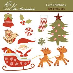This Happy Christmas set clipart comes with 10 adorable Christmas related clipart graphics.