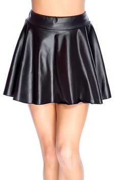 #FashionVault #kandy kouture #Women #Bottoms - Check this : Black Faux Leather Skater Skirt for $24.99 USD