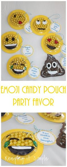 Emoji Candy Pouch Party Favor with Printable - Keeping it Simple Crafts