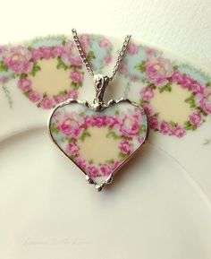 Antique French porcelain ring of soft pink roses broken china jewelry heart pendant necklace
