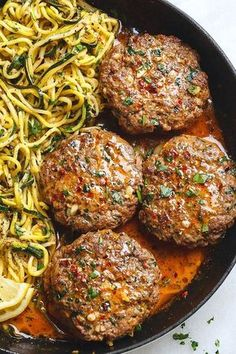 Cheesy Garlic Burgers with Lemon Butter Zucchini Noodles - Rich and juicy, you'll instantly fall in love with these hamburger patties served with plenty of lemony zucchini noodles. dinner mince Cheesy Garlic Burgers with Lemon Butter Zucchini Noodles Meat Recipes, Low Carb Recipes, Cooking Recipes, Healthy Recipes, Vegemite Recipes, Recipes Dinner, Tumeric Chicken Recipes, Low Carb Hamburger Recipes, Chuck Steak Recipes