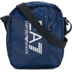 Ea7 Emporio Armani logo print messenger bag ($59) ❤ liked on Polyvore featuring men's fashion, men's bags, men's messenger bags and blue