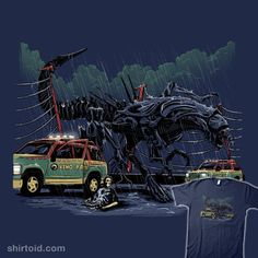 """Aliens T-Shirt by Alex Pawlicki aka AP Sketches. """"The Xeno Park Incident"""" is a mashup of Aliens and Jurassic Park featuring a Xenomorphus Rex. Alien Vs Predator, Predator Alien, Aliens Funny, Aliens Movie, Michael Crichton, Giger Alien, Science Fiction, Thriller, Jurassic Park World"""