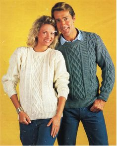 Womens Mens Aran sweater Knitting Pattern PDF ladies Aran Jumper Cable Crew Neck 32-44inch Aran Worsted 10 Ply Unisex PDF instant Download