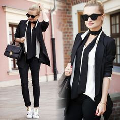 Daria Darenia - Asos Glasses, Romwe Blazer, H&M Shirt, Barada Bag, Adidas Shoes - Sporty Elegance