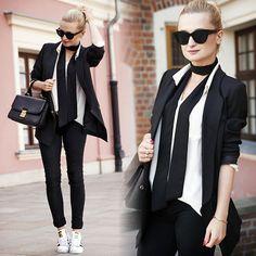 Daria Darenia - Asos Glasses, Romwe Blazer, H&M Shirt, Barada Bag, Adidas Shoes - Sporty Elegance