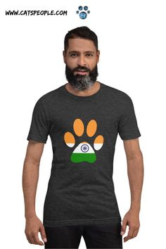 Indian flag inside a cat paw: The purrfect design for indian cat lovers and cat owners! A simple cat paw design for all indian cat moms and cat dads who love their feline companions and their country! Soft and lightweight, with the right amount of stretch, this t-shirt is comfortable and flattering for all cat parents. #catlovertshirt #indianflagtshirt #indiacatlover #catpawtshirt #indianflag #indiancatmom