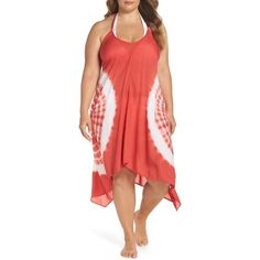 Plus Size Women's Elan Tie Dye Cover-Up Dress (110 BAM) ❤ liked on Polyvore featuring swimwear, cover-ups, coral, plus size, plus size cover up, tie dye swimwear, plus size beach wear, plus size cover ups and beach cover ups