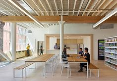 Zendesk   San Francisco Headquarters. Collaborative space, wood bench