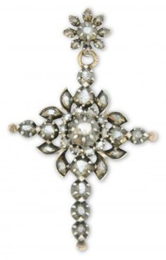 2c7c7cc6c23 Antique cross in silver and gold set with rose-cut diamonds. Traditional  Flemish jewellery also worn in the north of France