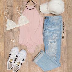 Heavenly Ribbed Bodysuit - Blush