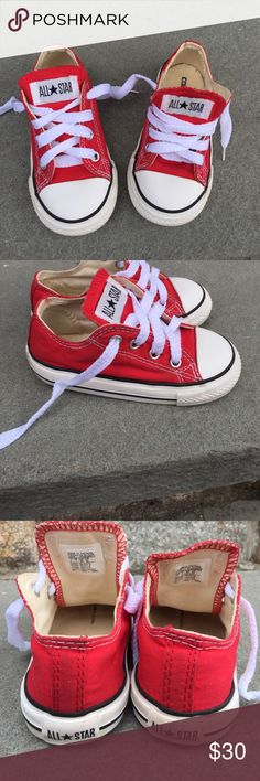 Converse Red & White Kids size 1 Sneakers Converse Red And White Sneakers, size one little girl or little boy, Laced up front ,pictures are part of the description. Converse Shoes Sneakers