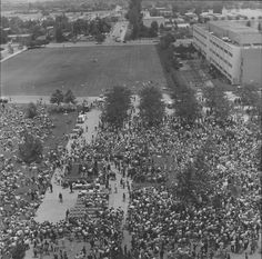 Aerial view of the crowd gathered at San Fernando Valley State College (now CSUN) to hear presidential candidate Eugene McCarthy speak at the 1968 California Political Forum. The Forum brought to campus a number of high-profile politicians, including McCarthy and 1968 Primary-election opponent Robert F. Kennedy. CSUN University Digital Archives.