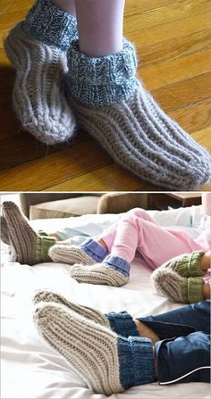 Free Knitting Pattern Easy Ribby Slippers - These slippers for the whole family feature ribbing on the slipper and and ribbed cuffs. Sizes toddler (child, small woman, large woman, man). Rated very easy and easy by Ravelrers. Designed by Cathy Carron.
