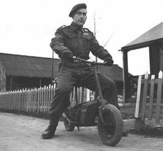 Sergeant Gordon Davies of Canadian 1st Parachute Battalion on a Welbike in Bulford Wiltshire England United Kingdom 5 January 1944.