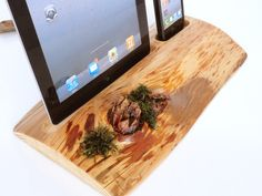 iPhone / iPod / iPad evergreen wooden DUAL docking station - sync, charge, can serve as holder / stand.. via Etsy.