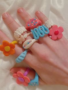 Fimo Ring, Polymer Clay Ring, Polymer Clay Crafts, Fimo Clay, Funky Jewelry, Cute Jewelry, Diy Clay Rings, Clay Art Projects, Cute Clay