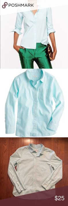 J. Crew Teal and Green Polka Dotted Button Down This unique color combo makes for a cheerful and sweet match on this J. Crew button-down! Wear it to work or on Easter Sunday! J. Crew Tops Button Down Shirts