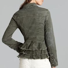 Free People Army Green Jacket NWOT! Sold out EVERYWHERE! New without tags, army green distressed jacket by Free People. Awesome ruffles on back of jacket and beautiful lace-up corset sleeves! In perfect, new condition!! No trades/PP Free People Jackets & Coats