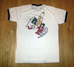 80s Parachutists Over Phorty Ringer T-Shirt POPS Skydiving Sz M Great pre-owned vintage condition
