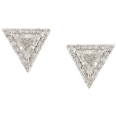 Lizzie Mandler Fine Jewelry 'Trillion' diamond pave stud earrings ($4,026) ❤ liked on Polyvore featuring jewelry, earrings, accessories, metallic, metallic jewelry, white stud earrings, white jewelry, pave diamond earrings and earring jewelry
