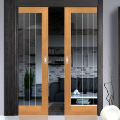 Double Pocket River Thames Oak 1 Light sliding door system in three size widths with Etched Clear Glass. #internalslidingdoors #contemporaryslidingdoors #pocketdoors