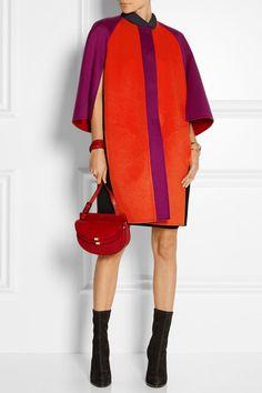 Black, orange and violet wool-felt Concealed snap fastenings through front 100% wool Dry clean