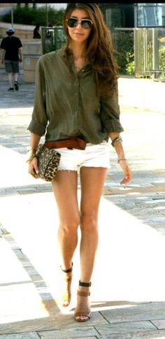short shorts and blousy top.