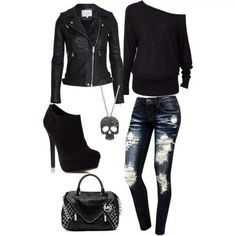 I like everything but the heels. I would probably wear black converse shoes.