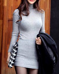 To wear with stockings   Casual Turtle Neck Packet Buttock Knitted Bodycon Long Sleeve Women's Dress
