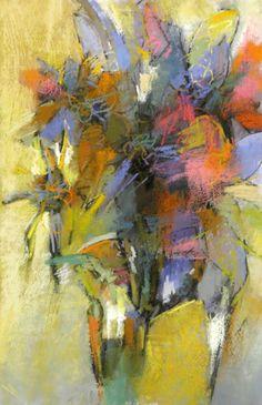 Bouquet with Yellow Green, pastel, Debora Stewart