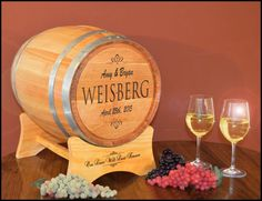 This personalized wedding wine barrel keepsake box is perfect for your wine wedding reception. It can be used on your gift table for a card box and then kept for many years to come for storing your wedding treasures!