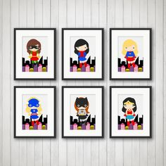 Girl Superhero Prints - Pick 1, 2, 3, 4, 5, or all 6 Prints. A great keepsake for your a childs room. I design the prints myself using
