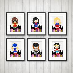 Superhero Print Girls Room Decor Playroom by SimplyLoveCreations